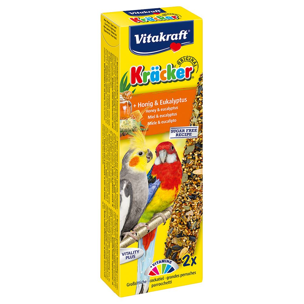 Vitakraft Parakeet Crackers - Saver Pack: 3 x 180g Honey & Eucalyptus