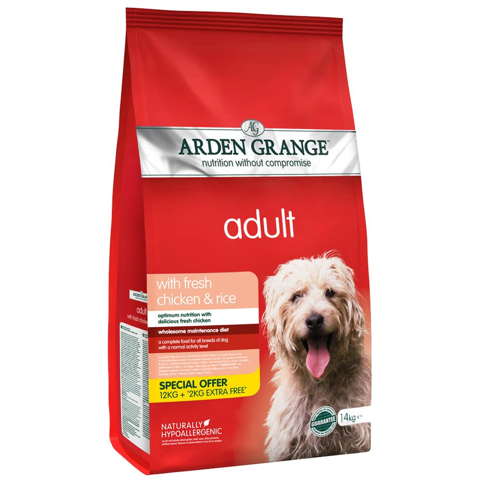 12kg Arden Grange Dog Adult Chicken & Rice + 2kg Extra Free
