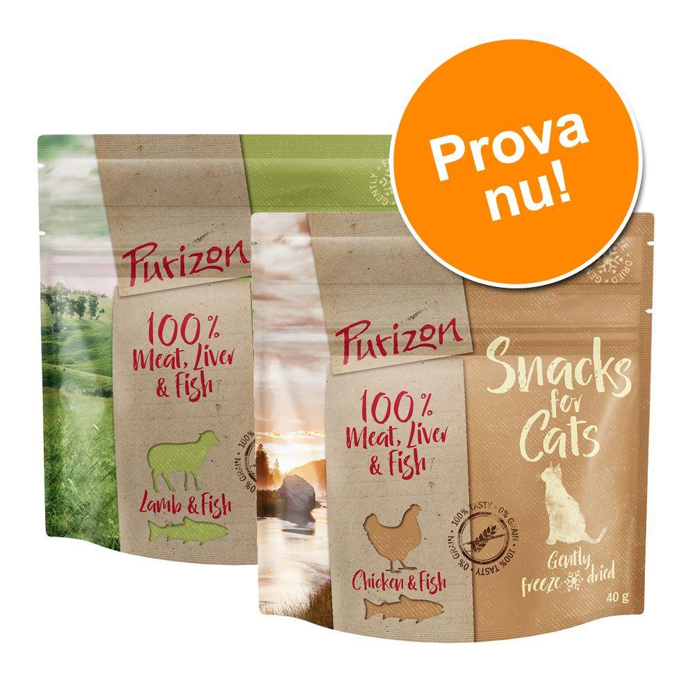 Blandat provpack: Purizon Snacks 2 x 40 g - Kyckling & fisk / Lamm & fisk