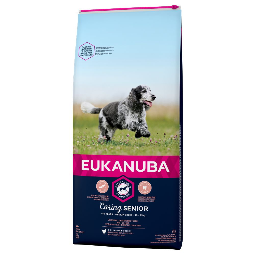 Image of Eukanuba Caring Senior Medium Breed Huhn - 15 kg