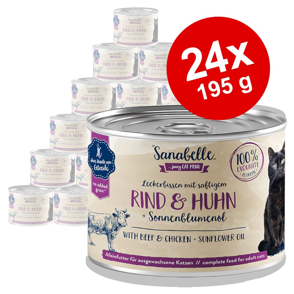Ekonomipack: Sanabelle All Meat 24 x 195 g - Lamm & nötkött