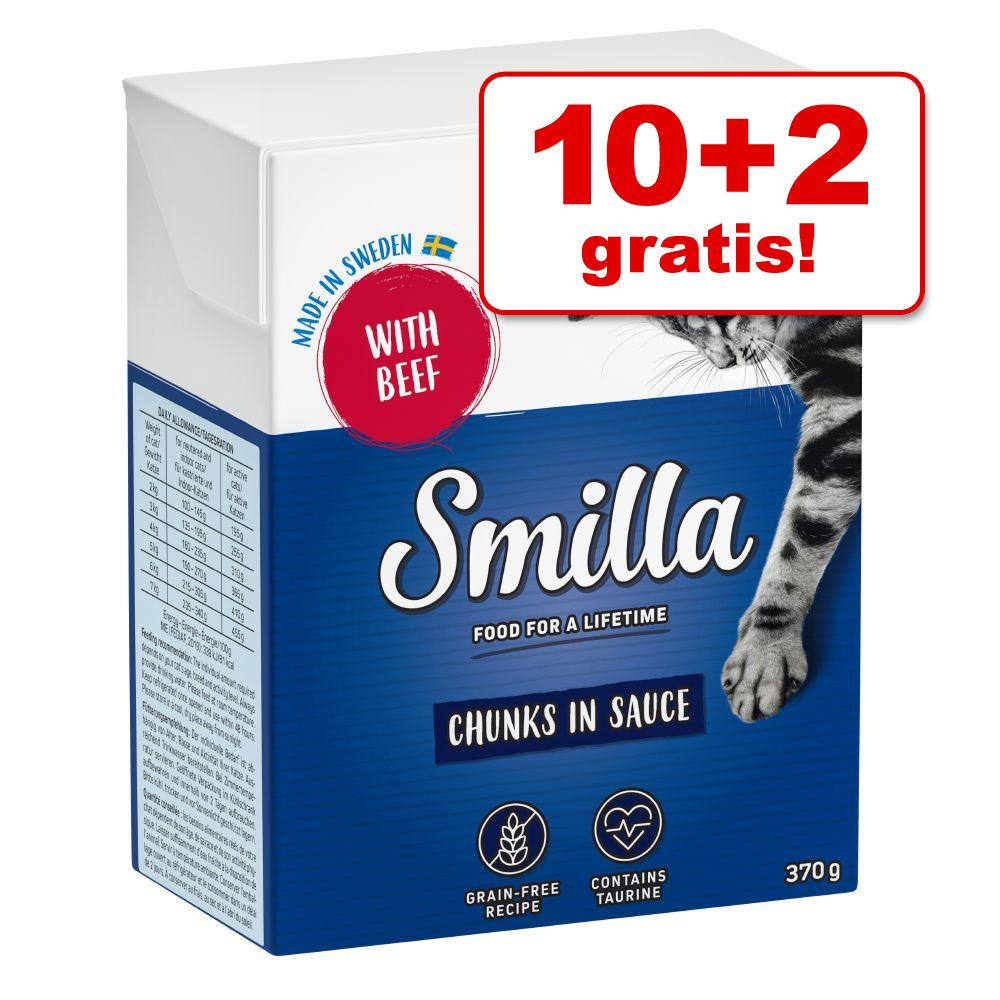 10 + 2 på köpet! Smilla Chunks 12 x 370 / 380 g Lax i gelé 12 x 380 g