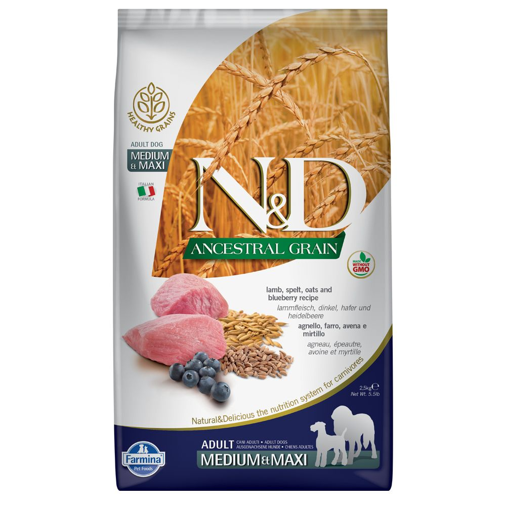 Farmina N&D Ancestral Grain Adult Medium & Maxi agneau, myrtilles pour chien  - 2 x 12 kg