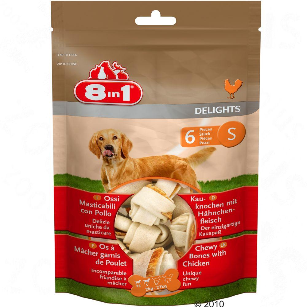 8in1 Delights kosteczki z kurczakiem – S, 6 x 40 g