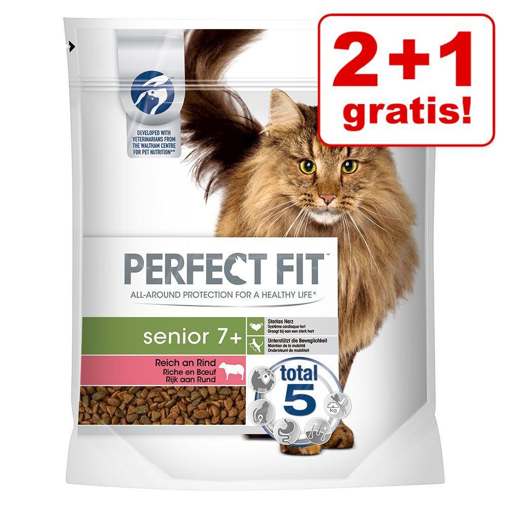 2 + 1 på köpet! 3 x 750 g Perfect Fit torrfoder för katt - Indoor 1+ reich an Rind
