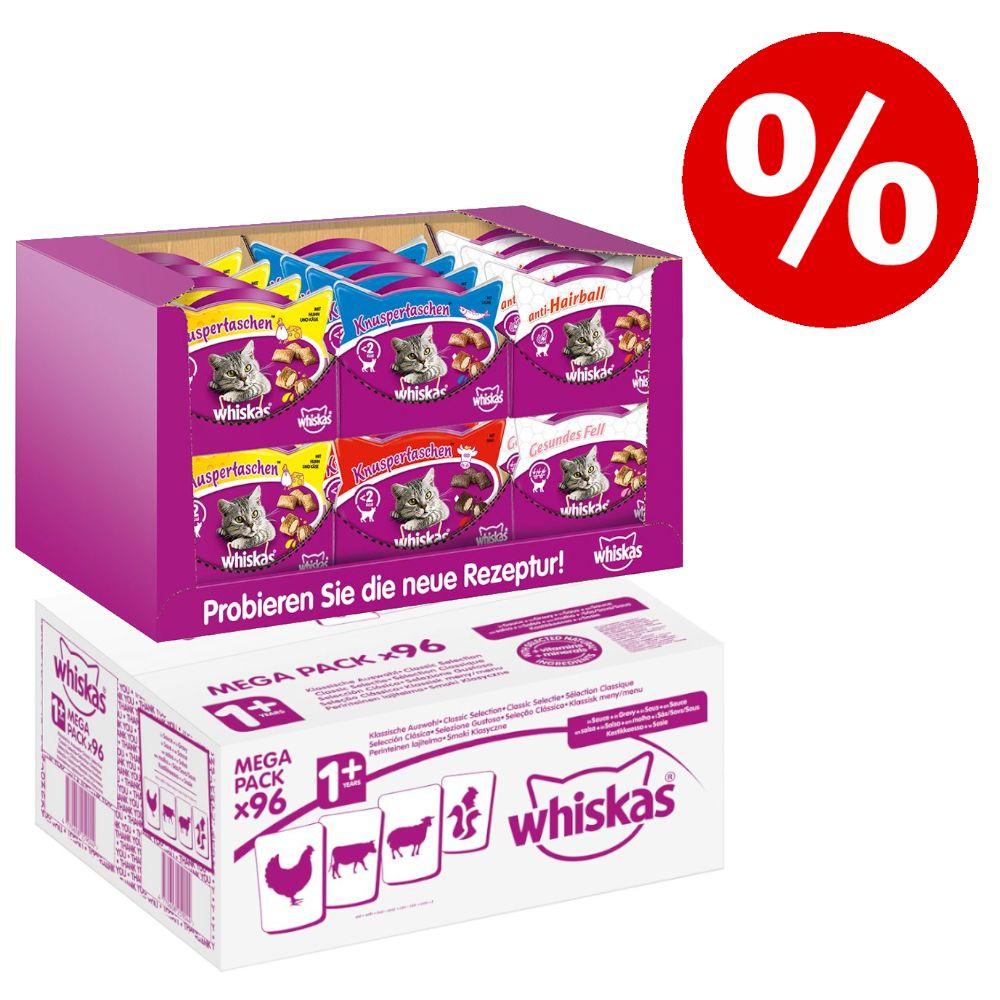 96 x 100 g Whiskas 1+ våtfoder + 24 x 60 g Temptations XXL Mixcase till sparpris! - Klassiskt urval i sås