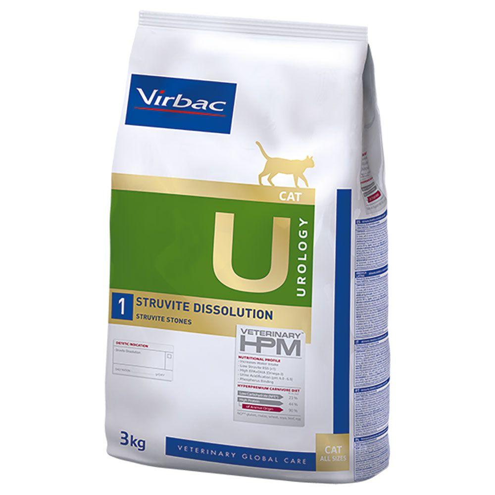2x3kg Virbac Veterinary HPM U1 Urology Struvite Dissolution - Croquettes pour chat