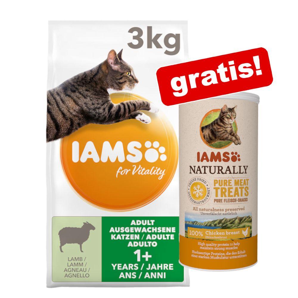 IAMS torrfoder + snack eller våtfoder på köpet! - 10 kg Vitality Senior Frischem Huhn + 12 x 85 g Adult Mix