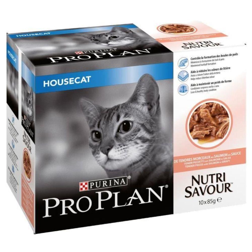 Purina Pro Plan Nutrisavour Housecat 10 x 85 g - Ekonomipack: 2 x Lax i gelé