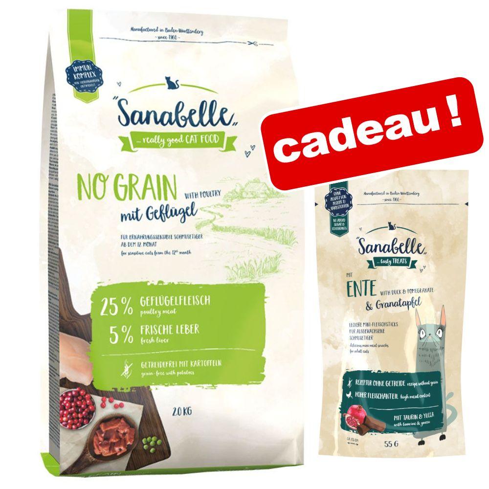 2kg No Sterilized Croquettes pour chat + 55g Sanabelle friandises offertes