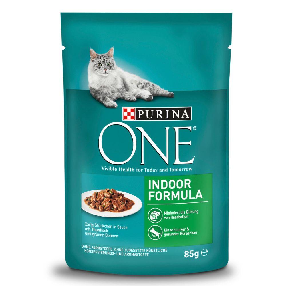 Purina One Indoor - Pack económico: atum e feijão verde (48 x 85 g)