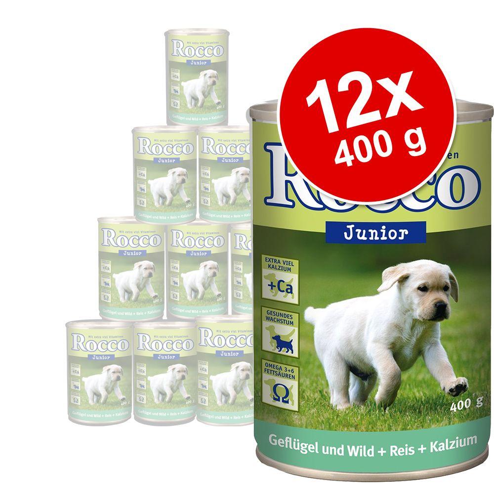 Sparpaket Rocco Junior 12 x 400 g - Mix: Pute & Kalbsherzen, Geflügel & Hühnerherzen