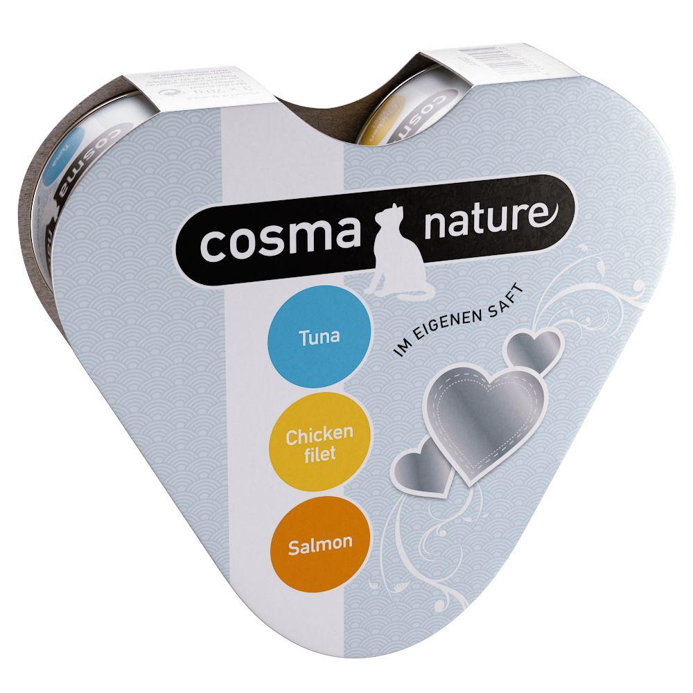 Pakiet próbny Cosma Nature w kształcie serca, 3 x 70 g - Tuńczyk, kurczak, łosoś