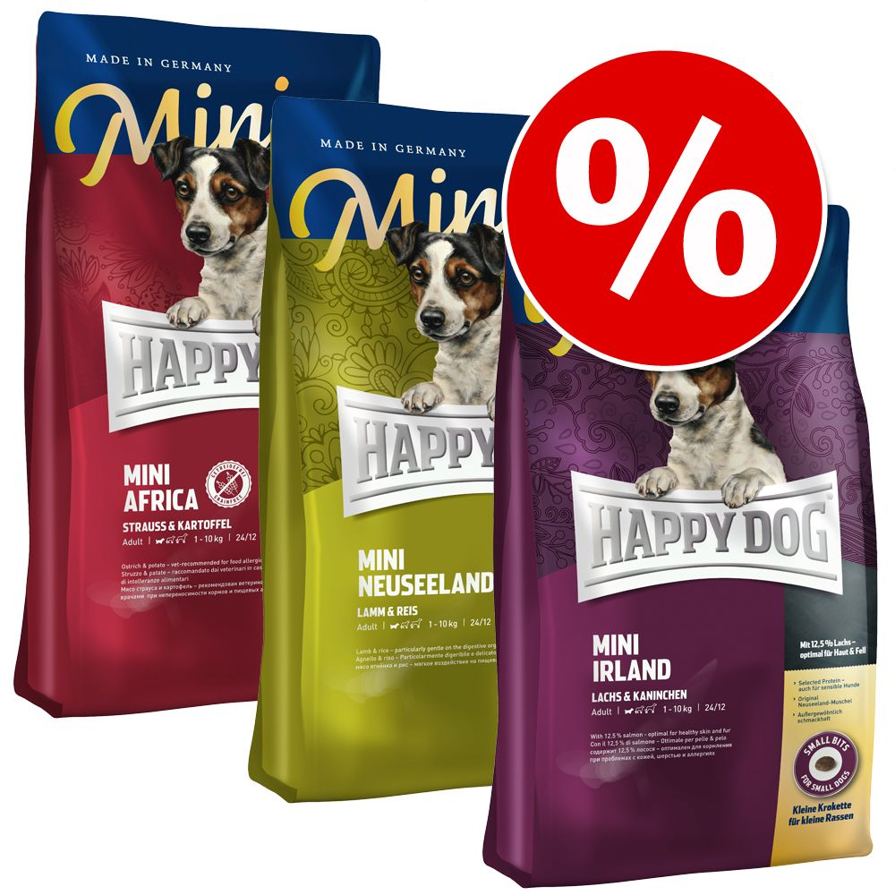 "Mixpaket: 3 x 4 kg Happy Dog Supreme Mini ""Kleine Weltreise"" - Afrika, Toscana & Irland"