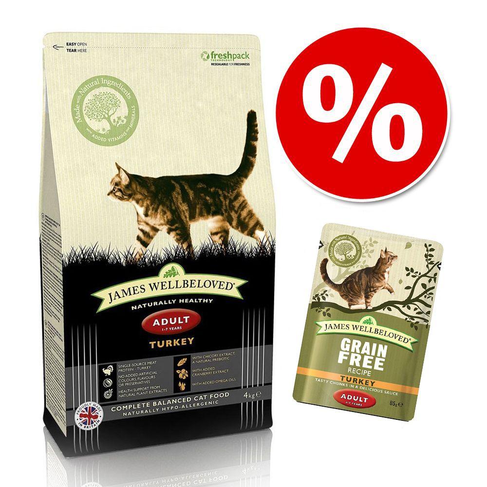 3 / 4 kg James Wellbeloved torrfoder + 24 x 85 g våtfoder! - Senior - Turkey (4 kg) + 24 x 85 g Senior våtfoder (Kalkon)