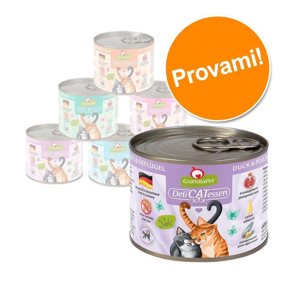 Image of Set prova misto! GranataPet DeliCatessen 6 x 200 g - Mix 1: 6 varianti carne e pesce