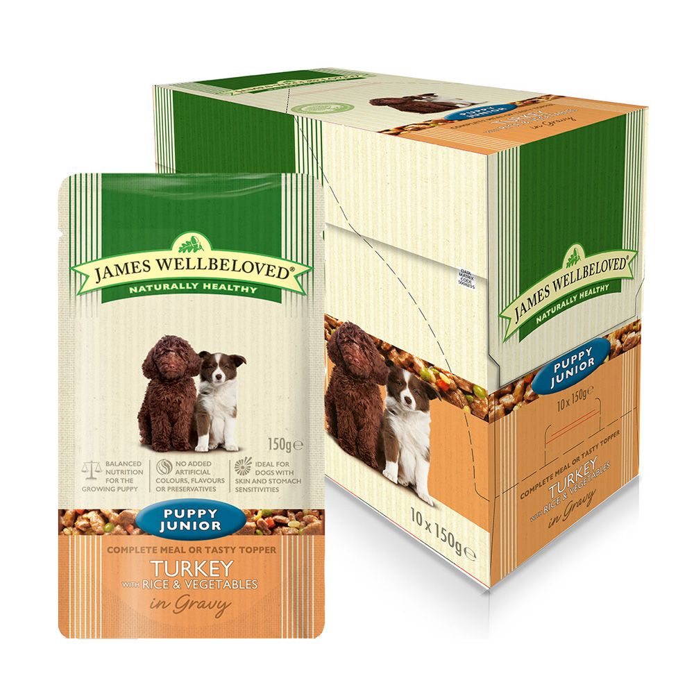 James Wellbeloved Puppy & Junior Pouches - Turkey & Rice - 10 x 150 g