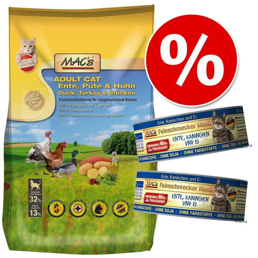 Blandpack: 7 kg MAC's Cat torrfoder + 24 x 100 g MAC's gourmet våtfoder - Adult Monoprotein Kanin + 24 x 100 g Anka & kanin