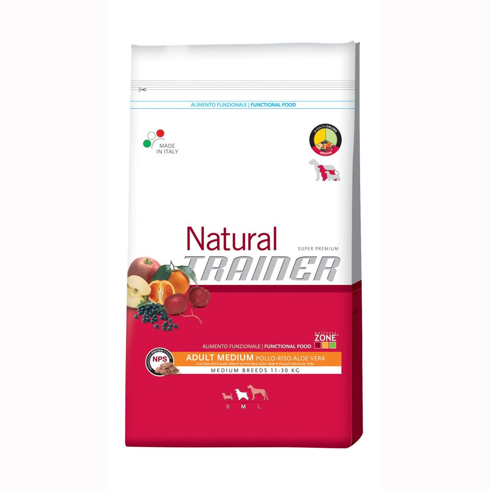 Foto Trainer Natural Adult Medium Pollo, Riso e Aloe Vera - 12,5 kg Trainer Natural Size Medium