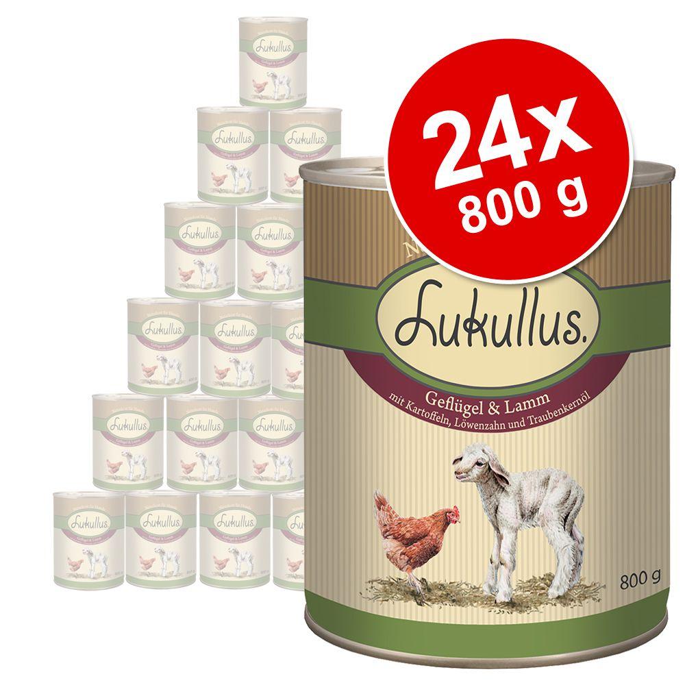 Megapakiet Lukullus Natural, 24 x 800 g - Pakiet III: drób, jagnięcina, dziczyzna, królik, wołowina