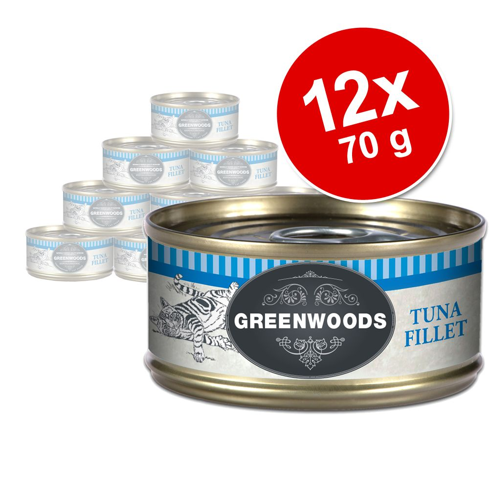 Sparpaket Greenwoods Adult 12 x 70 g - Hühnchenfilet
