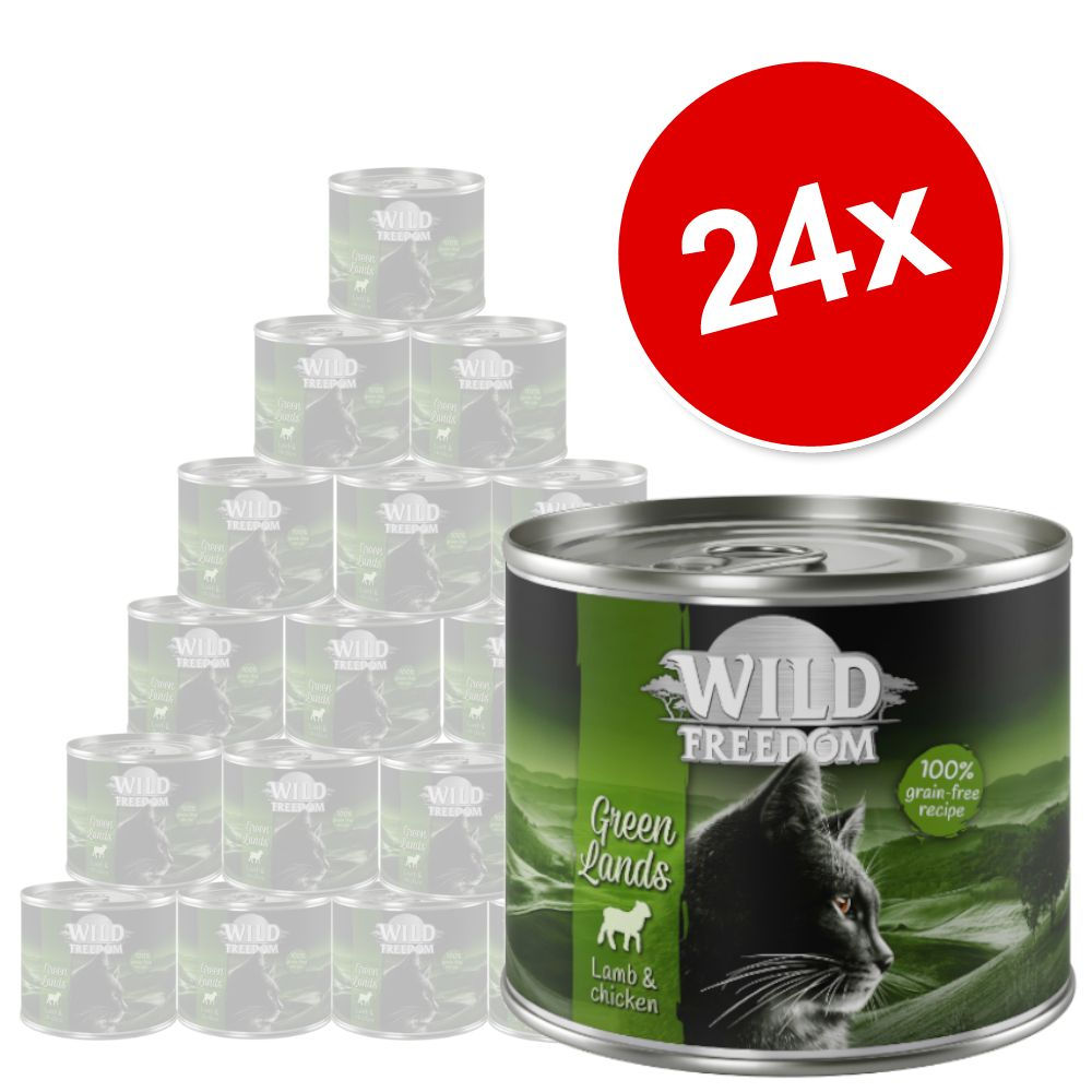 24x200g Wild Freedom Adult Green Lands Lam & Kylling kattemad