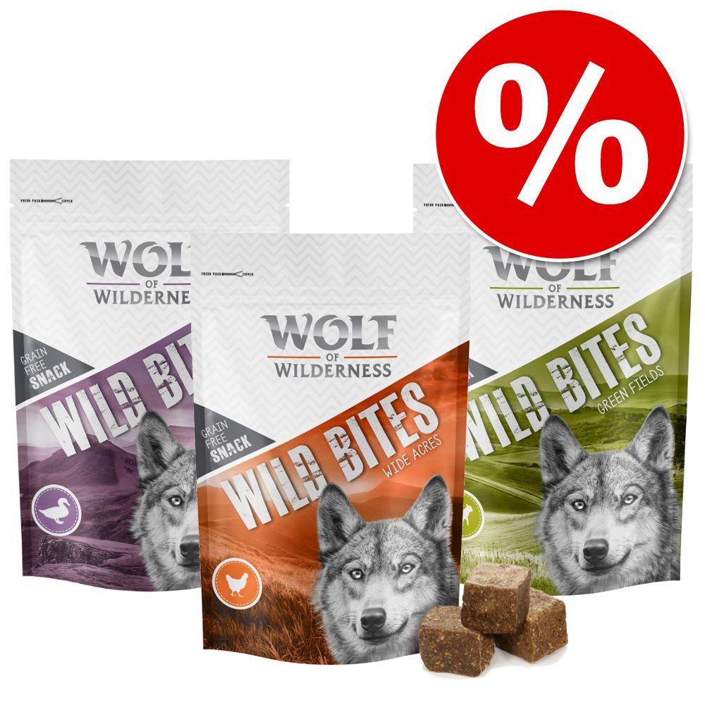 Varčno pakiranje Wolf of Wilderness Snack - Wild Bites 3 x 180 g - Kot dodatek: Torbica za prigrizke - Ø 10 x V 15 cm