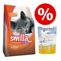 Probeerprijs: Smilla Kattenvoer 1 kg + 5L Tigerino Crystals! Light + Tigerino Crystals 5 l