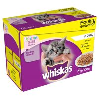 Whiskas Kitten Pouches - Saver Pack: 48 x 100g Poultry Selection in Jelly