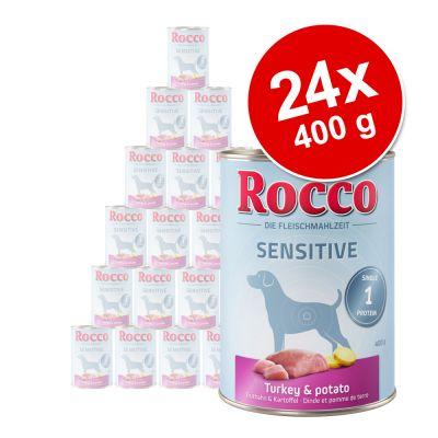 Rocco Sensitive -säästöpakkaus, 24 x 400 g – neljä makua: lammas & riisi, kana & peruna, riista & pasta, kalkkuna & peruna
