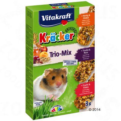 Vitakraft Kräcker Trio-Mix för hamster – 1 x 3 st (Honung, Druvor, Frukt)