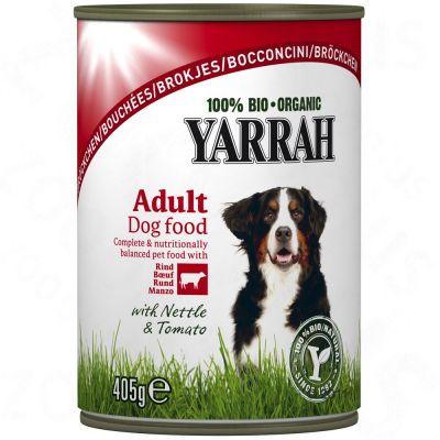 Yarrah Bio, kanaa, nautaa, nokkosta & tomaattia kastikkeessa – 6 x 820 g