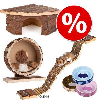 Accessoireset Basic voor Hamsters en Muizen - 4-delig (met loopwiel Ø 20 cm)