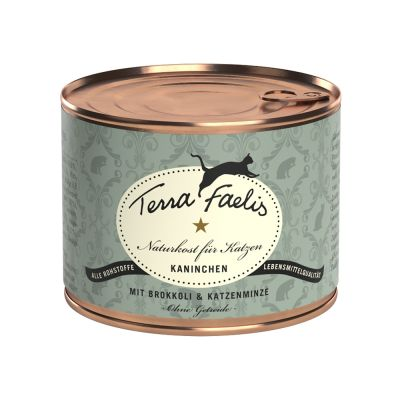 Terra Faelis Vleesmenu Kattenvoer 6 x 200 g - Konijn, Broccoli & Kattenmunt
