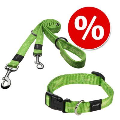 ROGZ Alpinist sparset: Koppel + halsband, lime -Halsband L: 32 – 50 cm halsomfång + koppel L