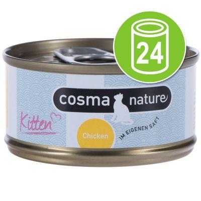 24 x 70 g Cosma Nature Kitten Voordeelpakket Kip Tonijn