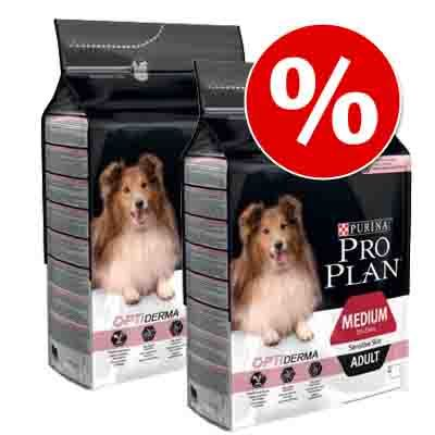 Dwupak Purina Pro Plan - Medium Puppy Sensitive Optiderma, łosoś i ryż, 2 x 12 kg