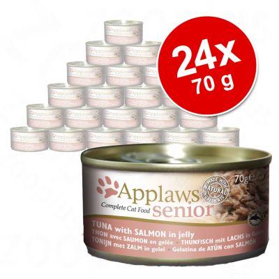 Výhodné balenie Applaws Senior v želé 24 x 70 g - tuniak s lososom