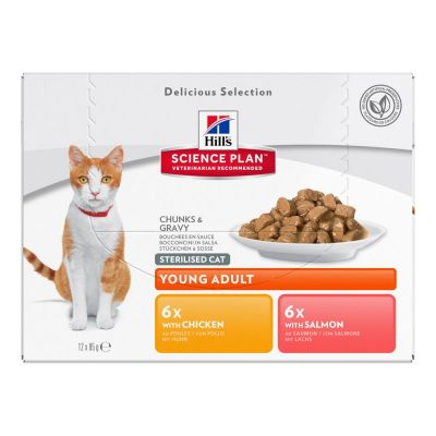 Hill's Science Plan Young Adult Sterilised Cat - 12 x 85 g lajitelma: Chicken & Salmon