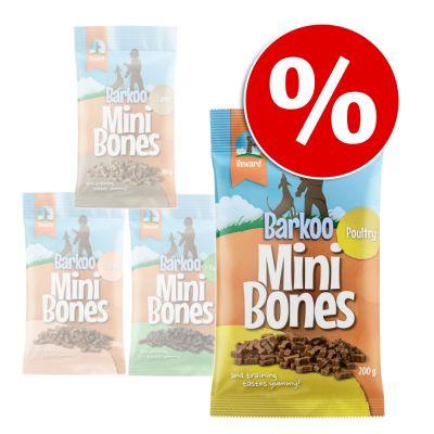 Barkoo Mini Bones  8 x 200 g - Pack Ahorro - Con salmón