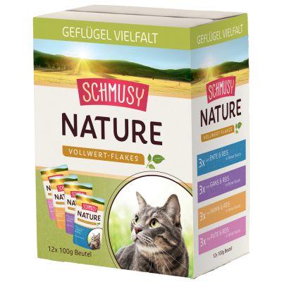 Schmusy Nature Whole Food Flakes -lajitelma - siipikarja 24 x 100 g