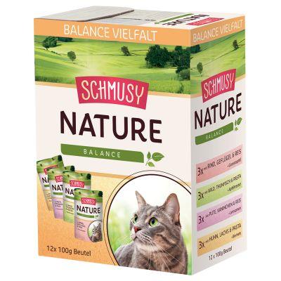 Schmusy Nature Balance -mix, kana + naudanliha + kalkkuna + riista - 12 x 100 g
