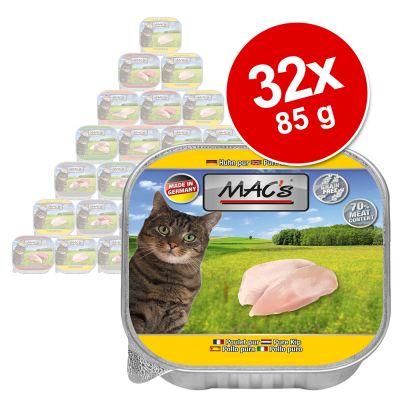 Säästöpakkaus: MAC's Cat -rasiat 32 x 85 g - ankka, kani & nauta
