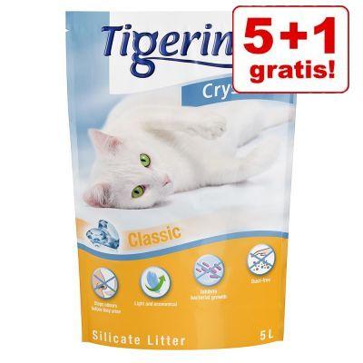 5 + 1 på köpet! 6 x 5 l Tigerino Crystals kattströ 4 olika sorter - Classic, Flower Power, Lavender & Aloe Vera