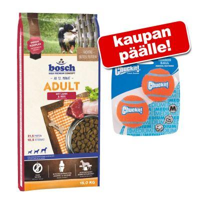 Bosch koiranruoka 12,5 / 15 kg + 2 kpl Chuckit tennispalloja kaupan päälle! - Plus Trout & Potato (12,5 kg)