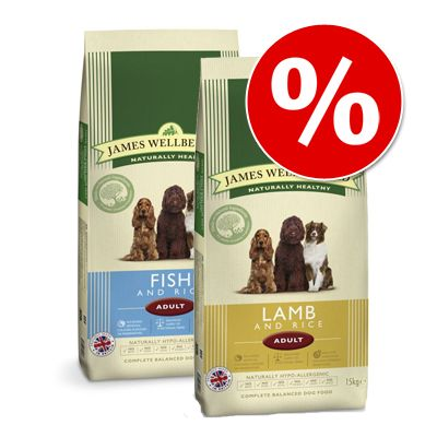 Sekoitettu säästöpakkaus: 2 x 15 kg James Wellbeloved - Adult Lamb & Rice + Adult Turkey & Rice