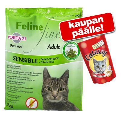 10 kg Porta 21 + 65 g Catessy Snacks kaupan päälle! - Feline Finest Cats Heaven, viljaton