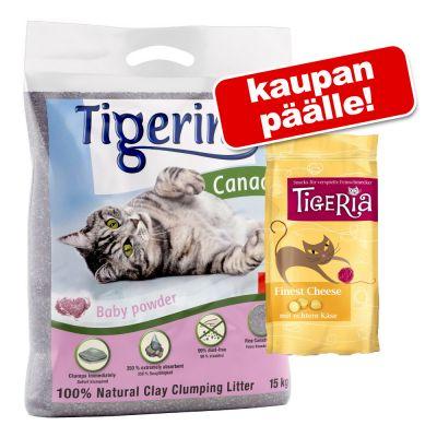 Tigerino Canada kissanhiekka 12 kg + Tigeria-juustoherkut kaupan päälle! - sitruunaruohontuoksuinen