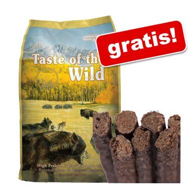 Stor påse Taste of the Wild + 10 tuggpinnar av våm på köpet! – High Prairie Puppy (13,6 kg)