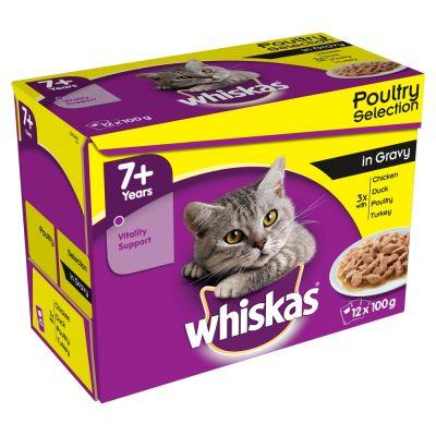 Whiskas - 12 x 100 g 7+ Whiskas Senior Maaltijdzakjes  - 7+ Vis en vlees in saus  kattenvoer